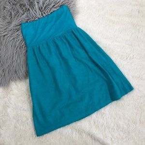 Judith March Linen Strapless Tube Dress Teal